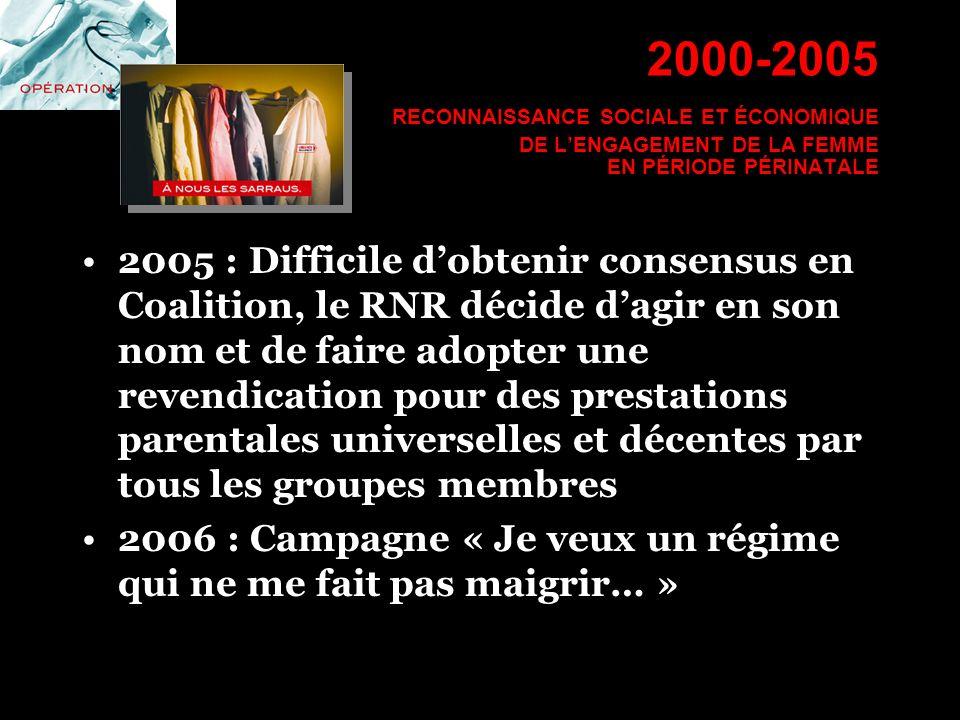 2000-2005 RECONNAISSANCE SOCIALE ET ÉCONOMIQUE DE LENGAGEMENT DE LA FEMME EN PÉRIODE PÉRINATALE 2005 : Difficile dobtenir consensus en Coalition, le R