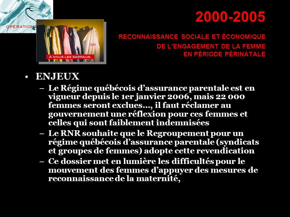 2000-2005 RECONNAISSANCE SOCIALE ET ÉCONOMIQUE DE LENGAGEMENT DE LA FEMME EN PÉRIODE PÉRINATALE ENJEUX –Le Régime québécois dassurance parentale est e