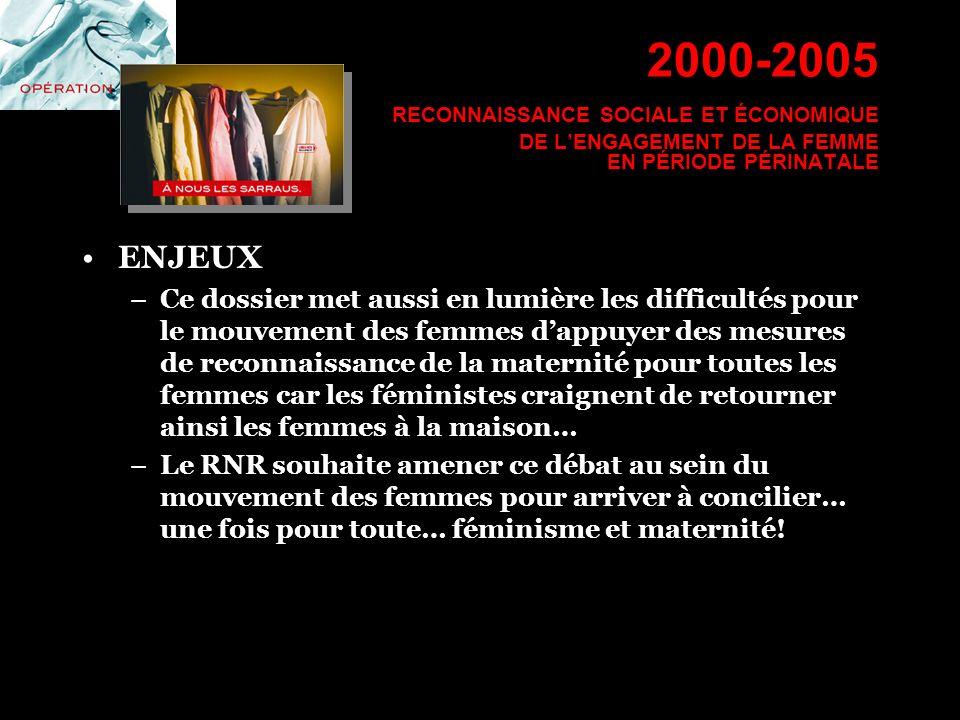 2000-2005 RECONNAISSANCE SOCIALE ET ÉCONOMIQUE DE LENGAGEMENT DE LA FEMME EN PÉRIODE PÉRINATALE ENJEUX –Ce dossier met aussi en lumière les difficulté