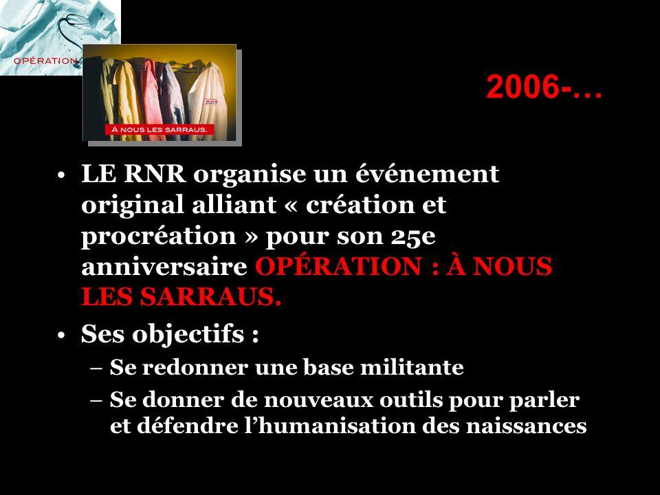 2006-… LE RNR organise un événement original alliant « création et procréation » pour son 25e anniversaire OPÉRATION : À NOUS LES SARRAUS. Ses objecti