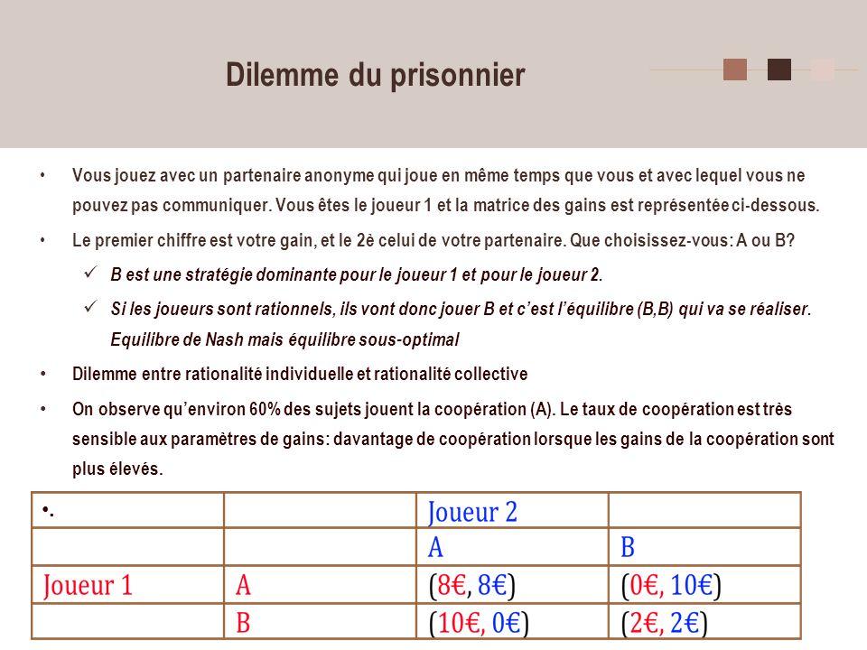 7 Dilemme du prisonnier- suite Le dilemme du prisonnier a fait lobjet dun très grand nombre dexpériences.