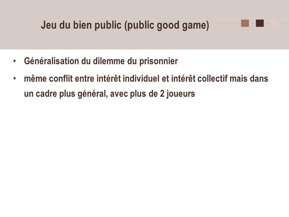 9 Jeu du bien public (public good game) n joueurs reçoivent chacun 10 jetons quils peuvent décider de conserver ou de placer en partie dans une cagnotte commune.