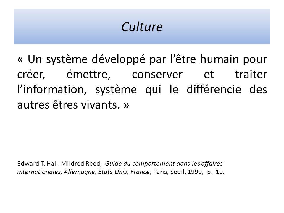 Culture « Un système développé par lêtre humain pour créer, émettre, conserver et traiter linformation, système qui le différencie des autres êtres vivants.