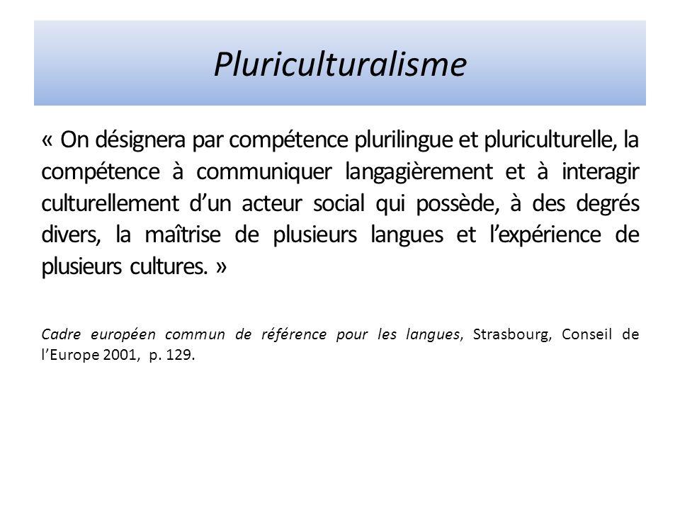 Pluriculturalisme « On désignera par compétence plurilingue et pluriculturelle, la compétence à communiquer langagièrement et à interagir culturellement dun acteur social qui possède, à des degrés divers, la maîtrise de plusieurs langues et lexpérience de plusieurs cultures.