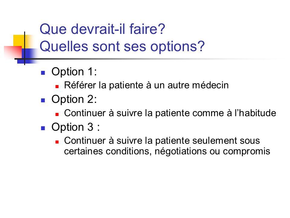 Que devrait-il faire? Quelles sont ses options? Option 1: Référer la patiente à un autre médecin Option 2: Continuer à suivre la patiente comme à lhab