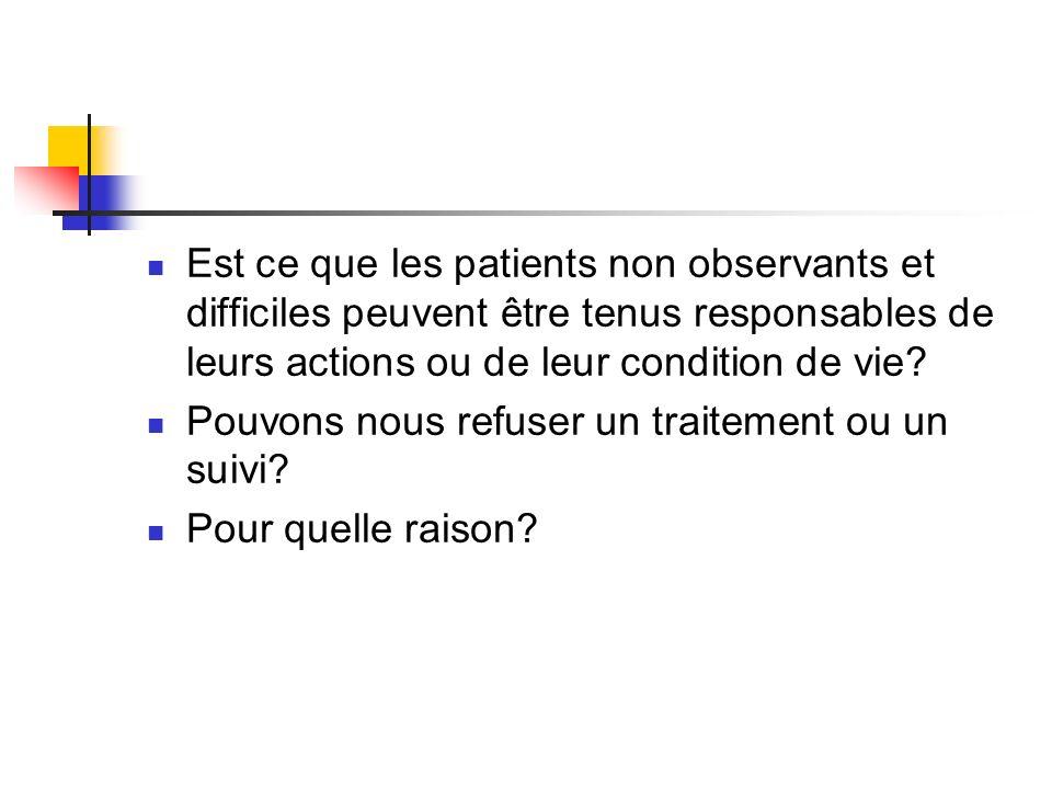 Est ce que les patients non observants et difficiles peuvent être tenus responsables de leurs actions ou de leur condition de vie? Pouvons nous refuse