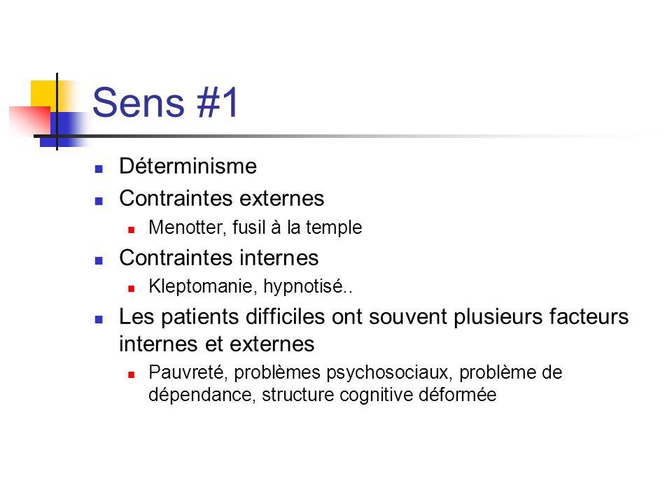 Sens #1 Déterminisme Contraintes externes Menotter, fusil à la temple Contraintes internes Kleptomanie, hypnotisé.. Les patients difficiles ont souven