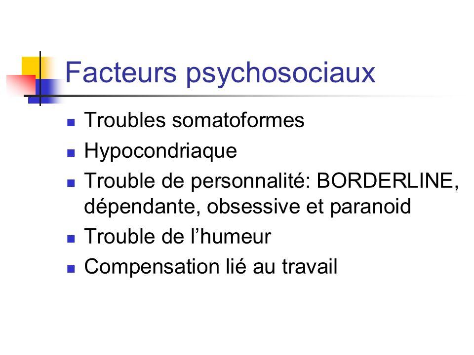 Facteurs psychosociaux Troubles somatoformes Hypocondriaque Trouble de personnalité: BORDERLINE, dépendante, obsessive et paranoid Trouble de lhumeur