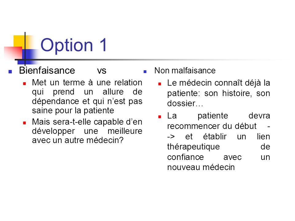 Option 1 Bienfaisance vs Met un terme à une relation qui prend un allure de dépendance et qui nest pas saine pour la patiente Mais sera-t-elle capable