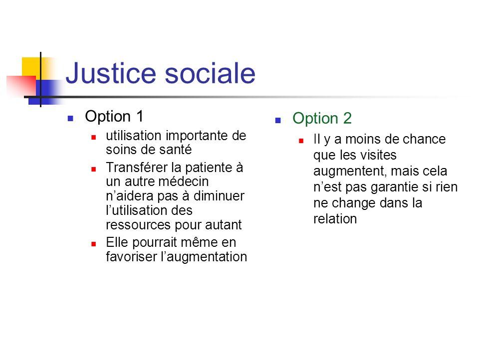 Justice sociale Option 1 utilisation importante de soins de santé Transférer la patiente à un autre médecin naidera pas à diminuer lutilisation des re