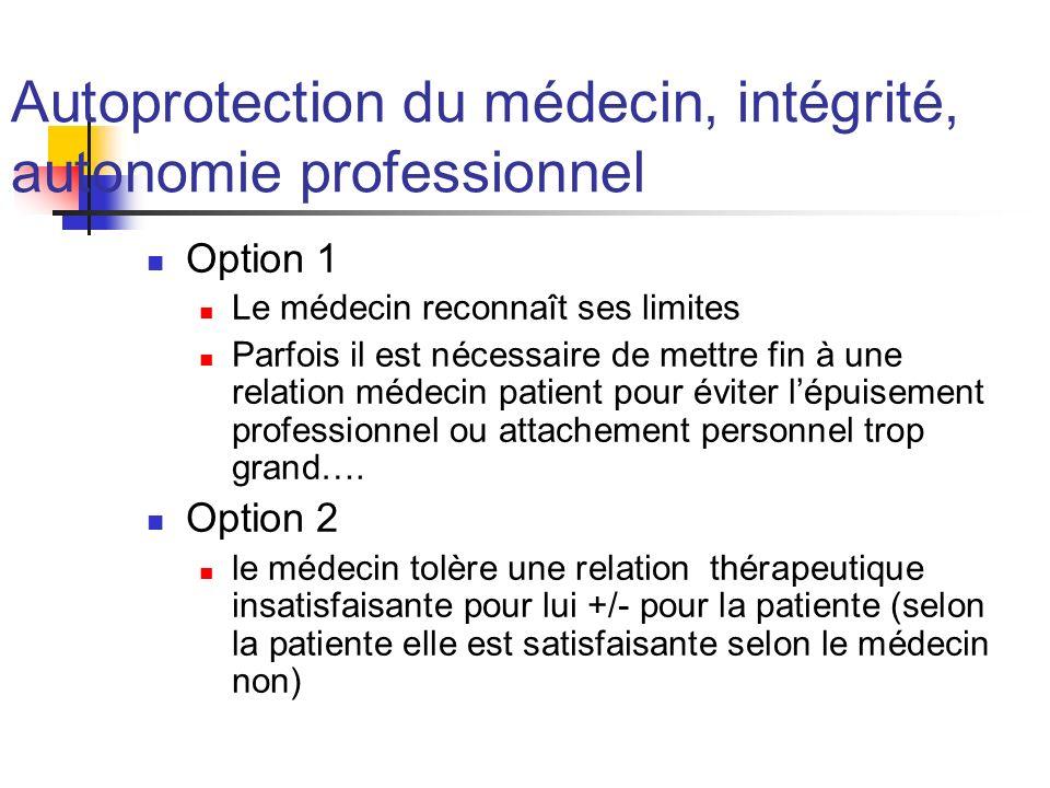 Autoprotection du médecin, intégrité, autonomie professionnel Option 1 Le médecin reconnaît ses limites Parfois il est nécessaire de mettre fin à une