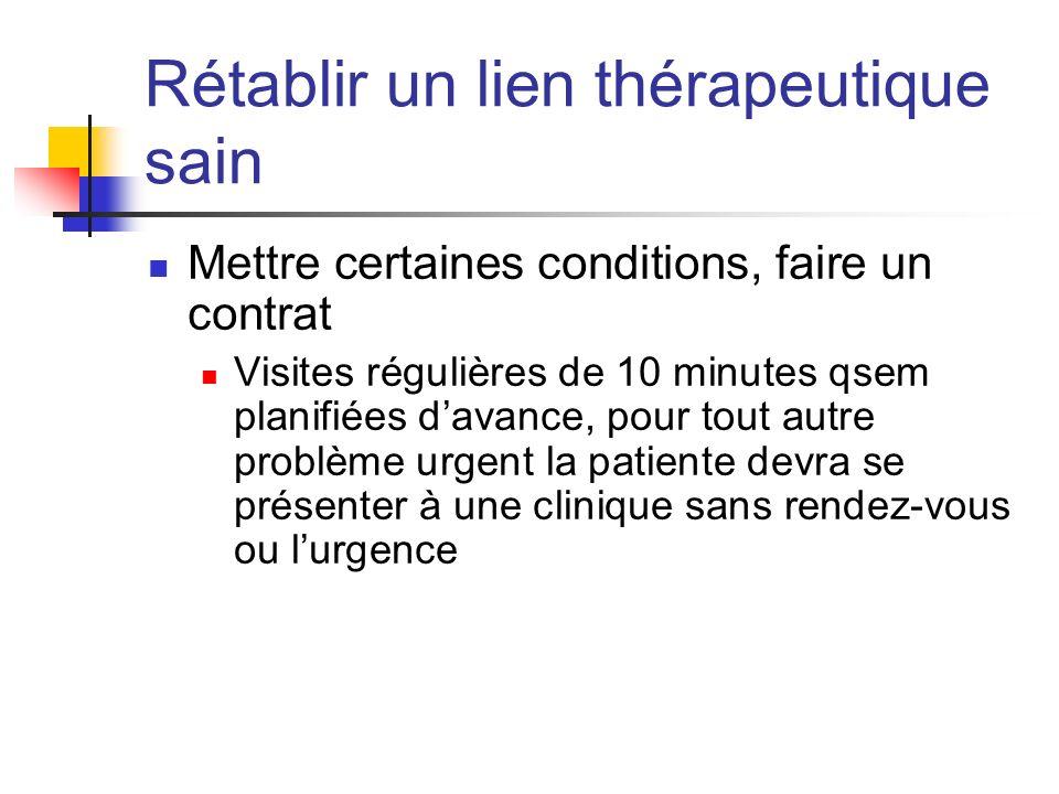 Rétablir un lien thérapeutique sain Mettre certaines conditions, faire un contrat Visites régulières de 10 minutes qsem planifiées davance, pour tout