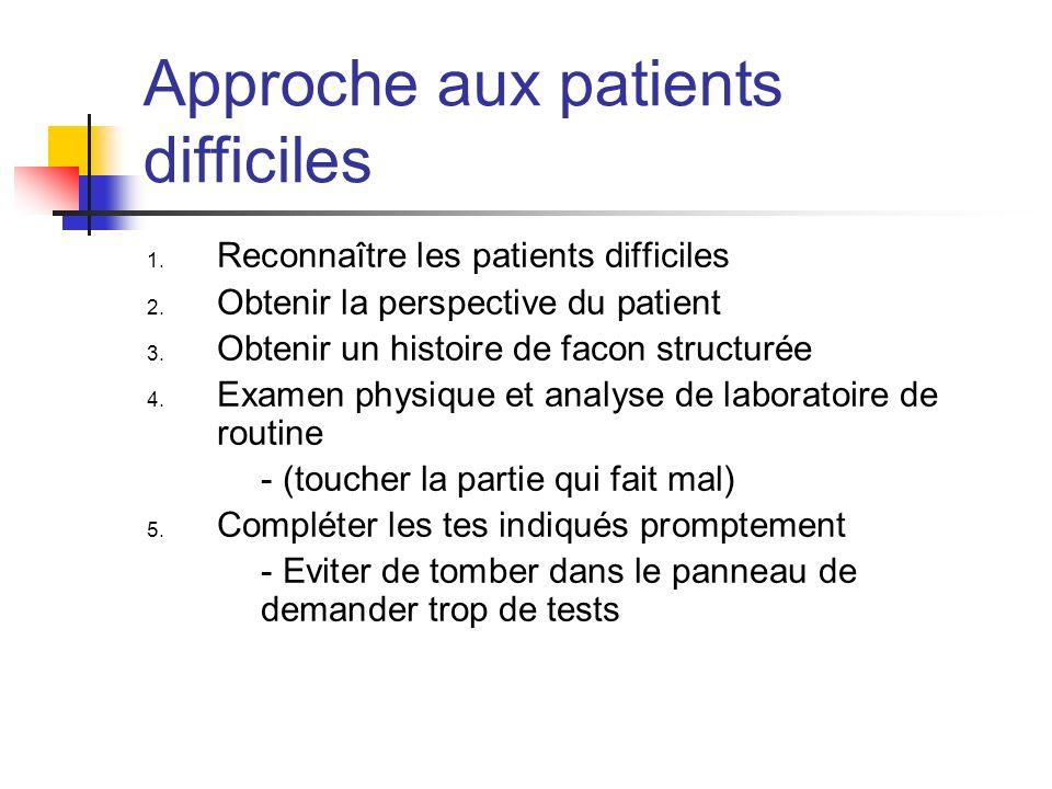 Approche aux patients difficiles 1. Reconnaître les patients difficiles 2. Obtenir la perspective du patient 3. Obtenir un histoire de facon structuré