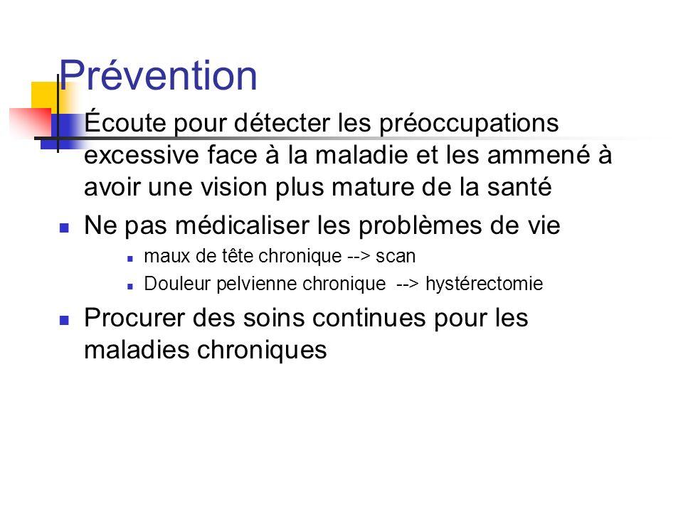 Prévention Écoute pour détecter les préoccupations excessive face à la maladie et les ammené à avoir une vision plus mature de la santé Ne pas médical