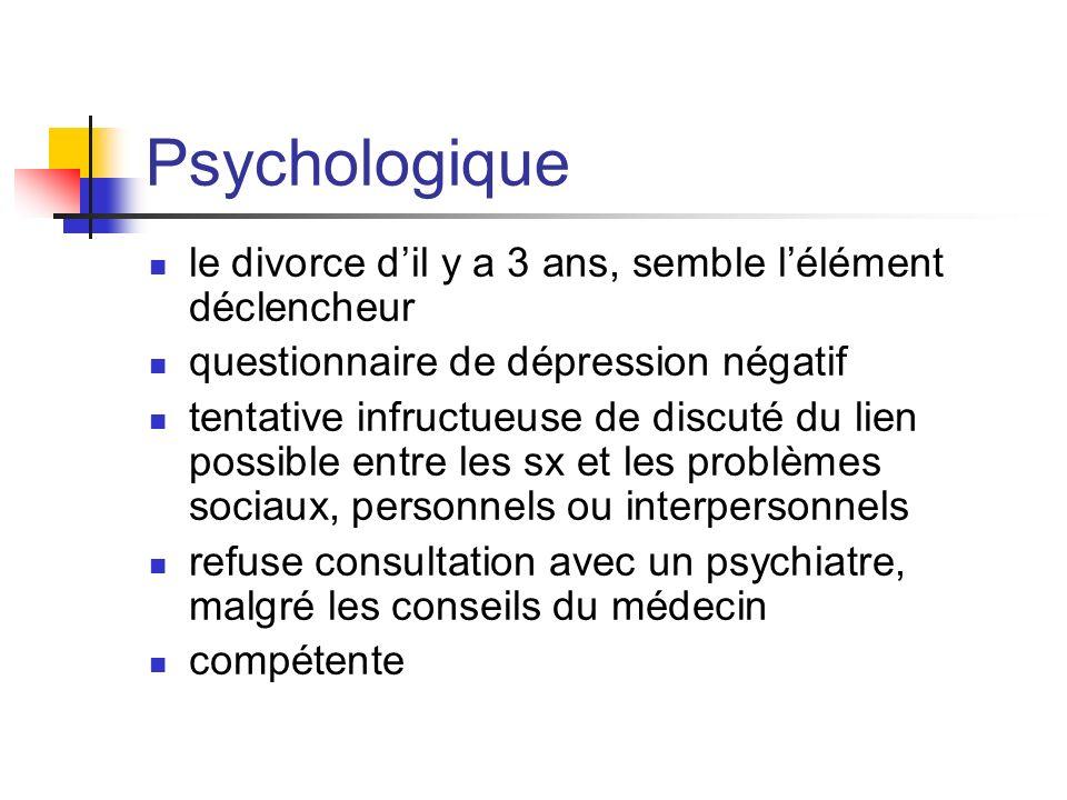 Psychologique le divorce dil y a 3 ans, semble lélément déclencheur questionnaire de dépression négatif tentative infructueuse de discuté du lien poss