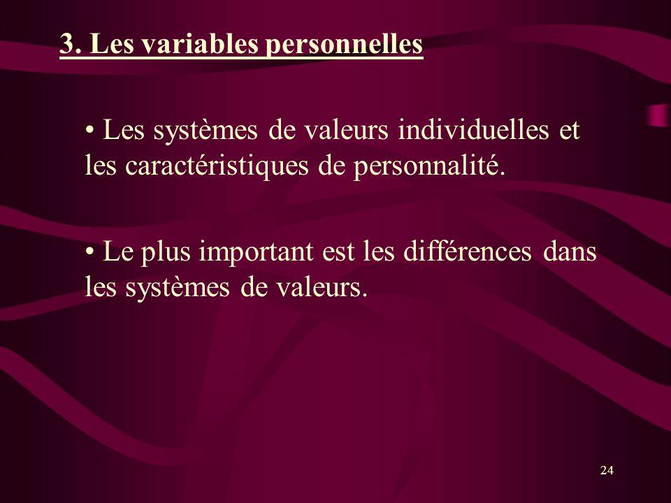 3. Les variables personnelles Les systèmes de valeurs individuelles et les caractéristiques de personnalité. Le plus important est les différences dan
