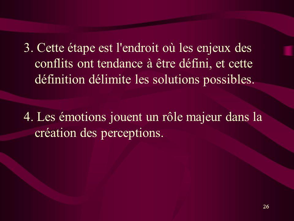 3. Cette étape est l'endroit où les enjeux des conflits ont tendance à être défini, et cette définition délimite les solutions possibles. 4. Les émoti