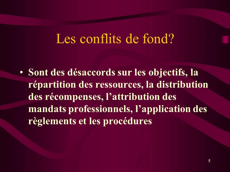 Les conflits de fond? Sont des désaccords sur les objectifs, la répartition des ressources, la distribution des récompenses, lattribution des mandats