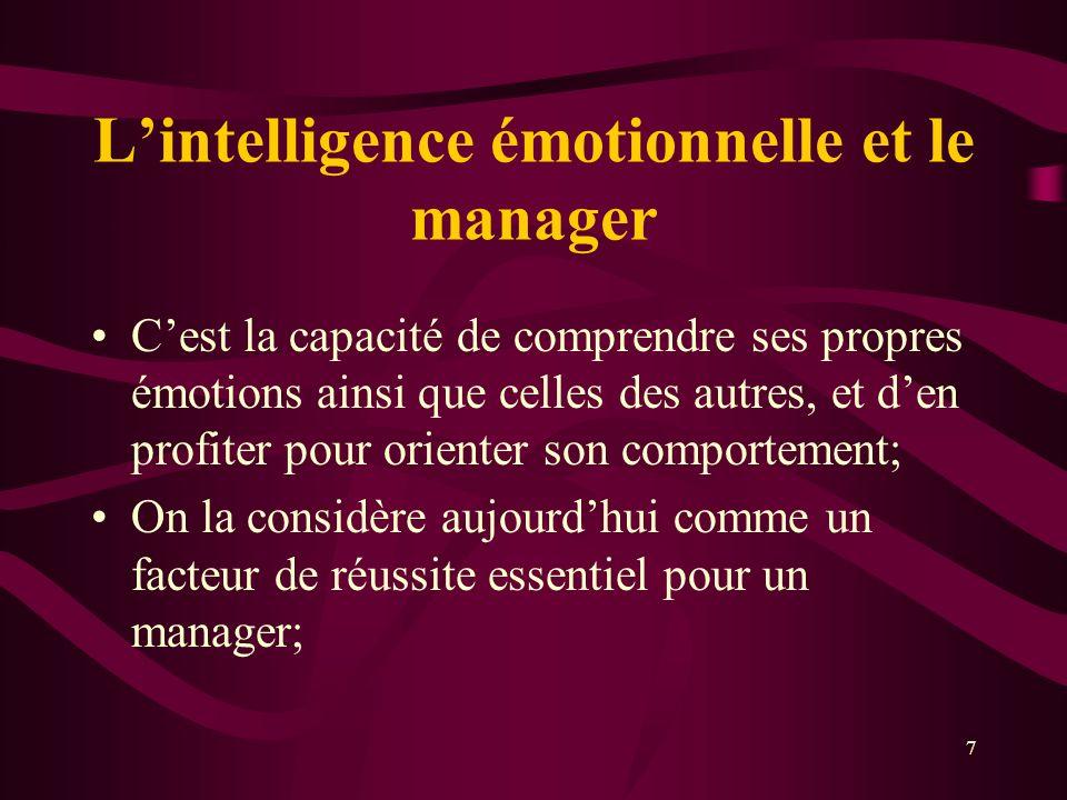 Lintelligence émotionnelle et le manager Cest la capacité de comprendre ses propres émotions ainsi que celles des autres, et den profiter pour oriente