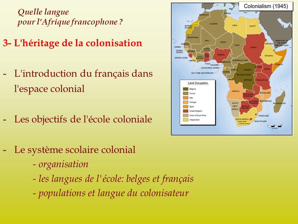 Quelle langue pour lAfrique francophone ? 3- L'héritage de la colonisation -L'introduction du français dans l'espace colonial -Les objectifs de l'écol