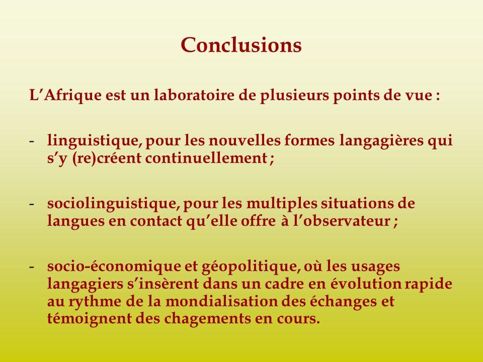 Conclusions LAfrique est un laboratoire de plusieurs points de vue : - linguistique, pour les nouvelles formes langagières qui sy (re)créent continuel
