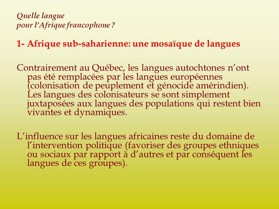 Quelle langue pour lAfrique francophone ? 1- Afrique sub-saharienne: une mosaïque de langues Contrairement au Québec, les langues autochtones nont pas