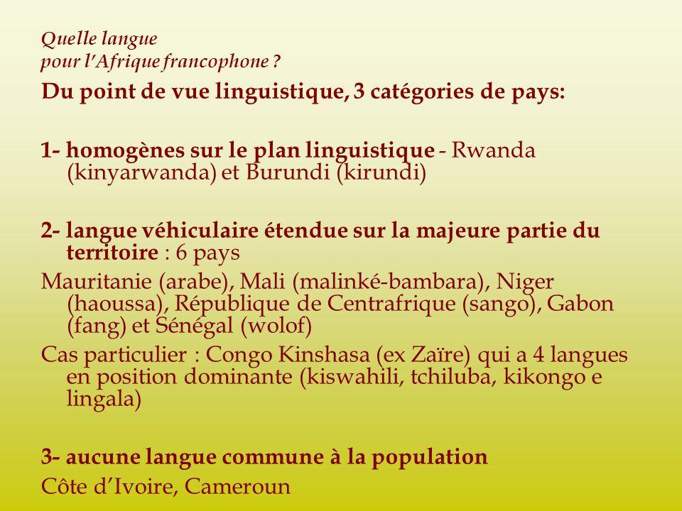 Quelle langue pour lAfrique francophone ? Du point de vue linguistique, 3 catégories de pays: 1- homogènes sur le plan linguistique - Rwanda (kinyarwa