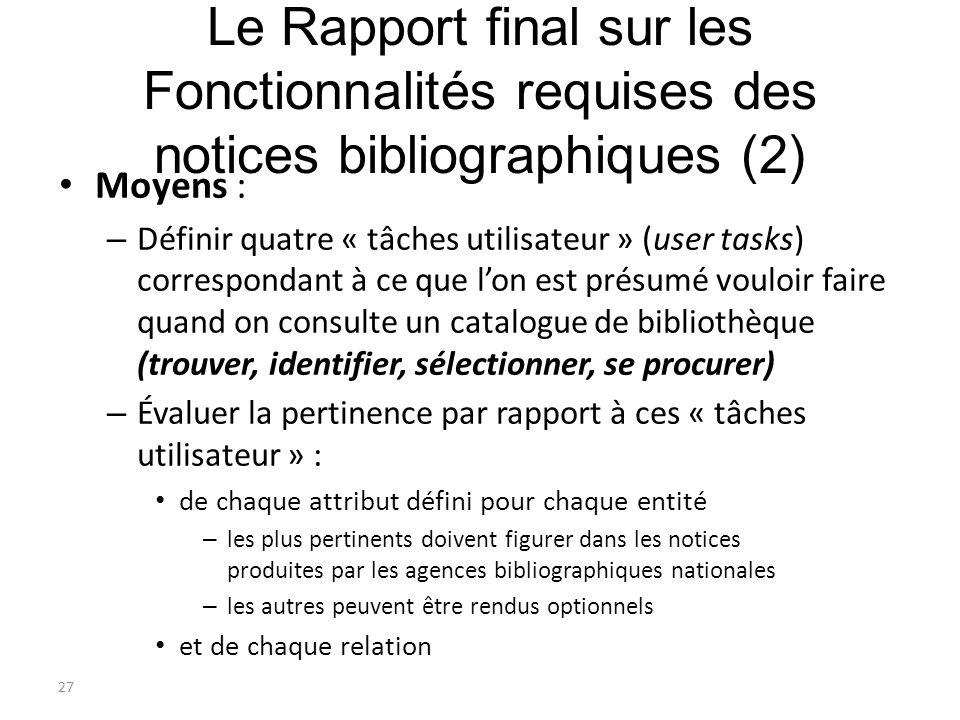 27 Le Rapport final sur les Fonctionnalités requises des notices bibliographiques (2) Moyens : – Définir quatre « tâches utilisateur » (user tasks) co