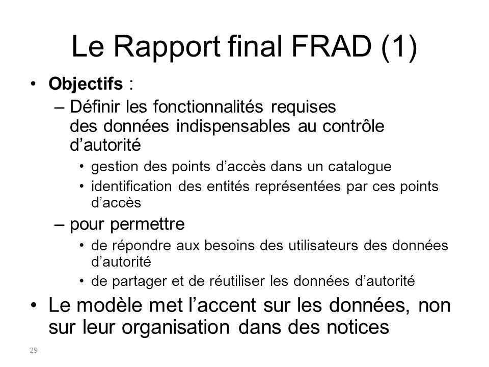 29 Le Rapport final FRAD (1) Objectifs : –Définir les fonctionnalités requises des données indispensables au contrôle dautorité gestion des points dac