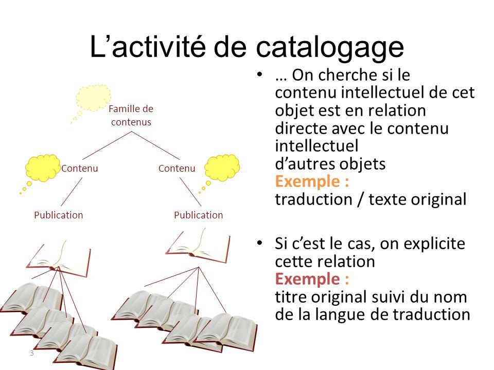 3 Lactivité de catalogage … On cherche si le contenu intellectuel de cet objet est en relation directe avec le contenu intellectuel dautres objets Exe