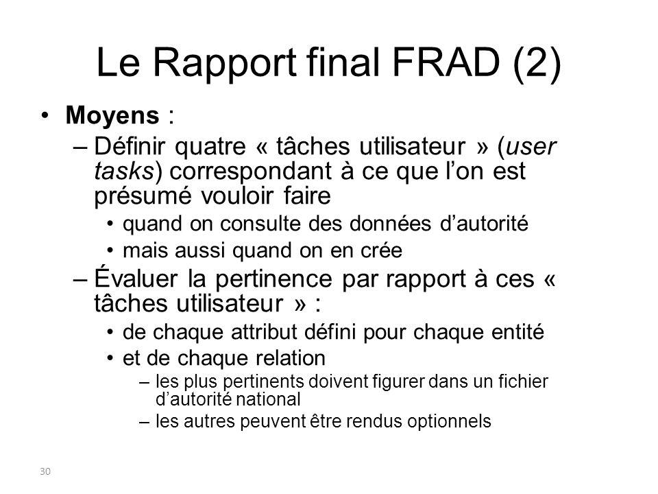 30 Le Rapport final FRAD (2) Moyens : –Définir quatre « tâches utilisateur » (user tasks) correspondant à ce que lon est présumé vouloir faire quand o
