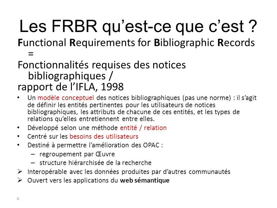 4 Les FRBR quest-ce que cest ? Functional Requirements for Bibliographic Records = Fonctionnalités requises des notices bibliographiques / rapport de