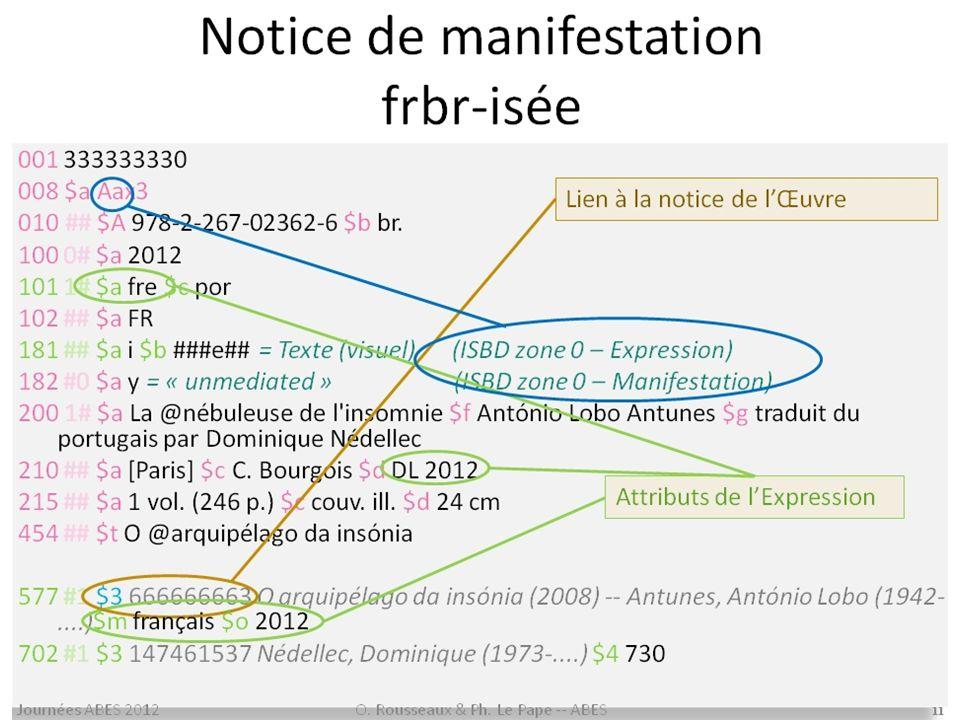 41 FRBR et RDA RDA est entièrement construit sur une interprétation du modèle FRBR –dans sa structure –dans sa terminologie –dans la détermination des éléments dinformation indispensables pour que le catalogue rende aux utilisateurs les services souhaités Il est utile de connaître FRBR pour appliquer RDA…