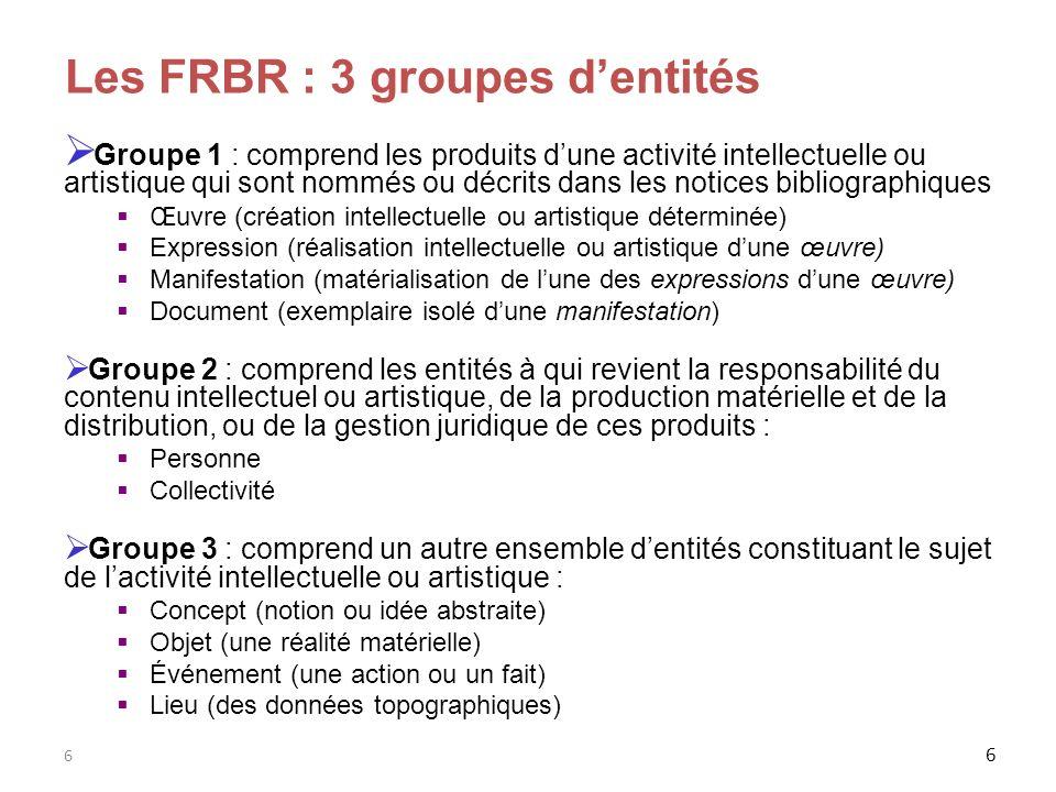 6 6 Les FRBR : 3 groupes dentités Groupe 1 : comprend les produits dune activité intellectuelle ou artistique qui sont nommés ou décrits dans les noti