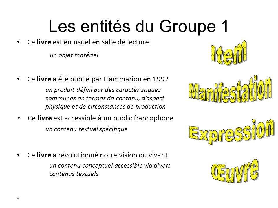 8 Les entités du Groupe 1 Ce livre est en usuel en salle de lecture Ce livre a été publié par Flammarion en 1992 Ce livre est accessible à un public f