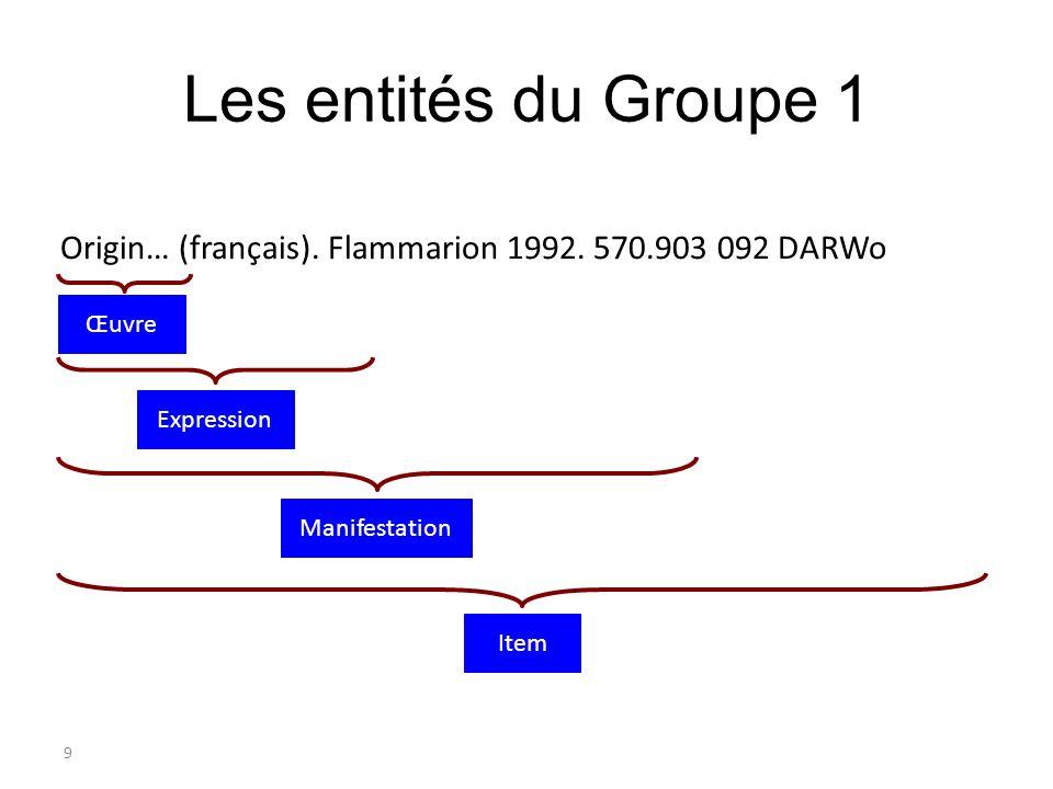 9 Les entités du Groupe 1 Origin… (français). Flammarion 1992. 570.903 092 DARWo Item Manifestation Expression Œuvre