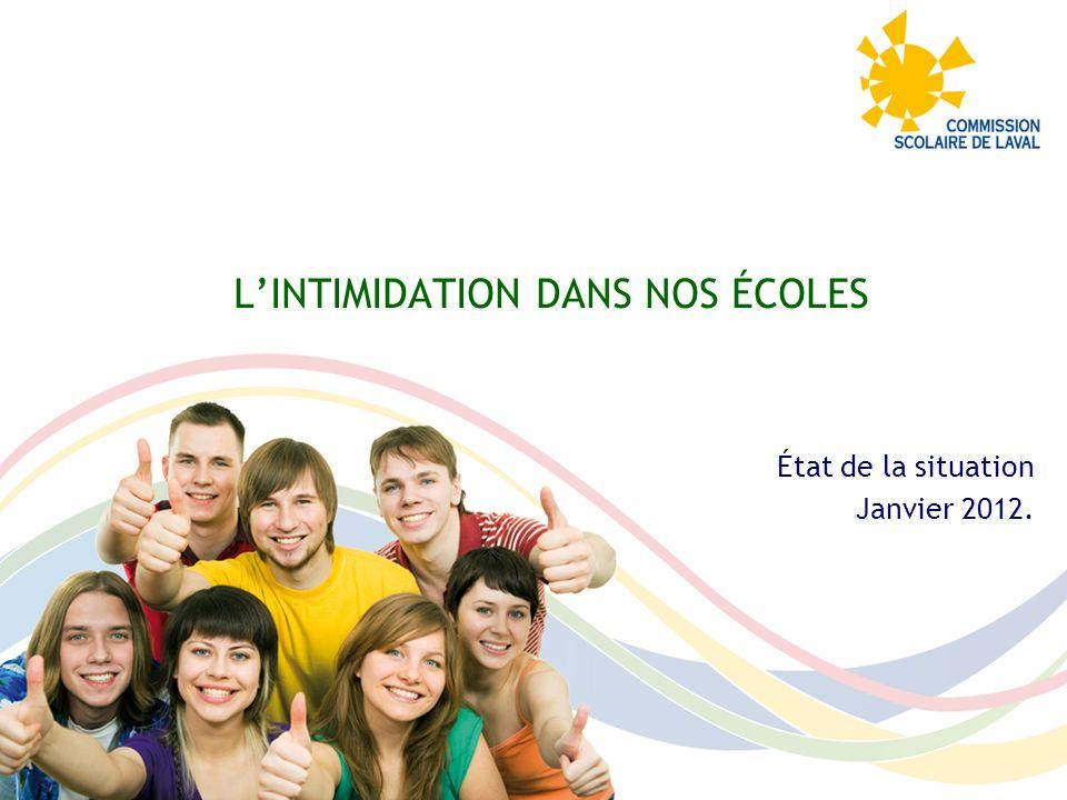 LINTIMIDATION DANS NOS ÉCOLES État de la situation Janvier 2012.