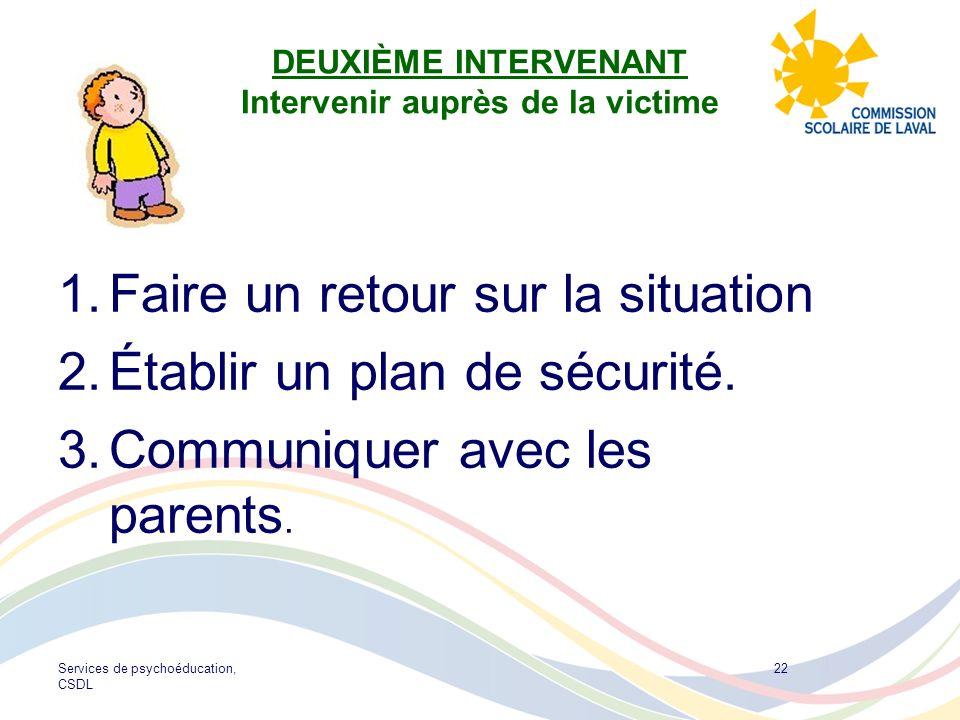 Services de psychoéducation, CSDL 22 DEUXIÈME INTERVENANT Intervenir auprès de la victime 1.Faire un retour sur la situation 2.Établir un plan de sécu