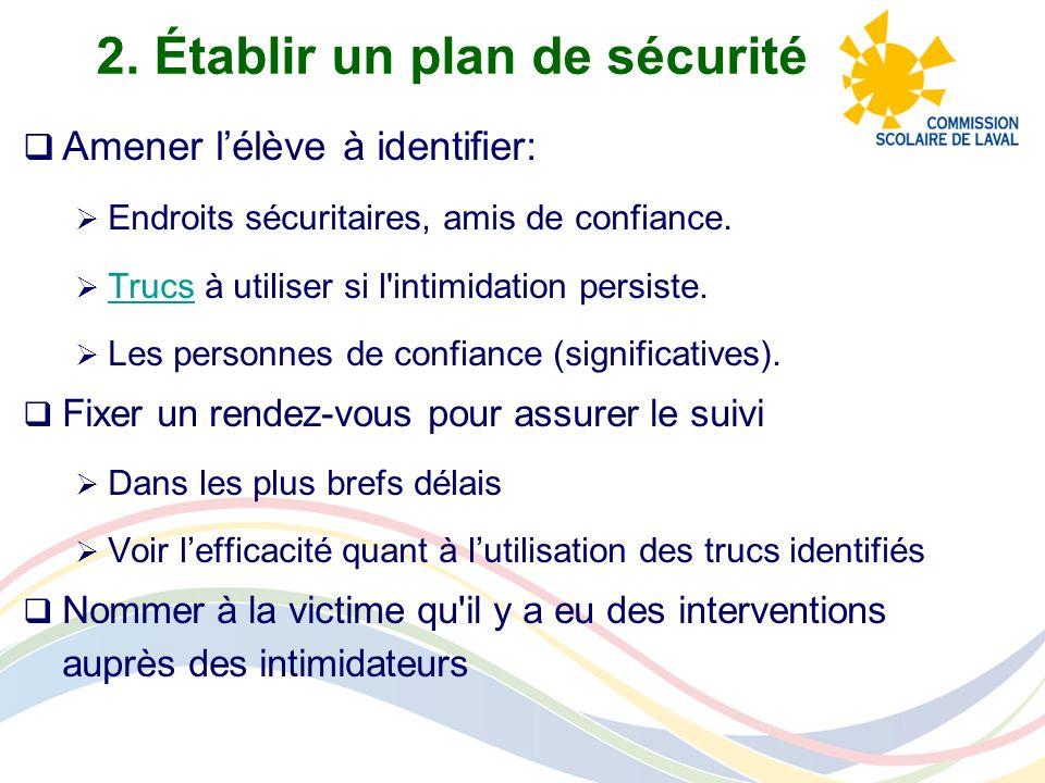 2. Établir un plan de sécurité Amener lélève à identifier: Endroits sécuritaires, amis de confiance. Trucs à utiliser si l'intimidation persiste. Truc