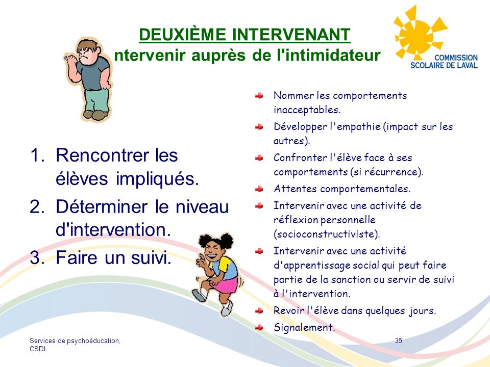 Services de psychoéducation, CSDL 35 DEUXIÈME INTERVENANT Intervenir auprès de l'intimidateur 1.Rencontrer les élèves impliqués. 2.Déterminer le nivea