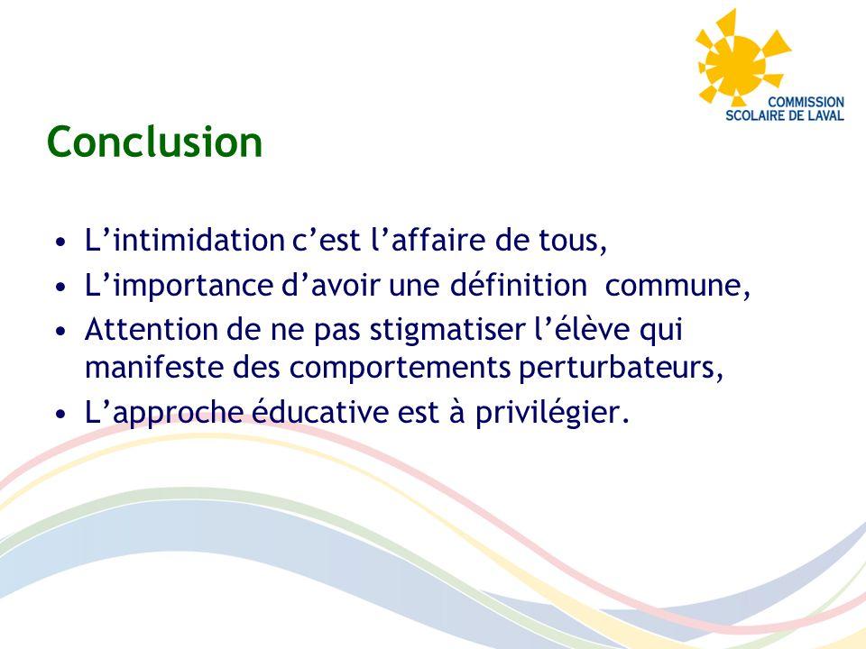 Conclusion Lintimidation cest laffaire de tous, Limportance davoir une définition commune, Attention de ne pas stigmatiser lélève qui manifeste des co
