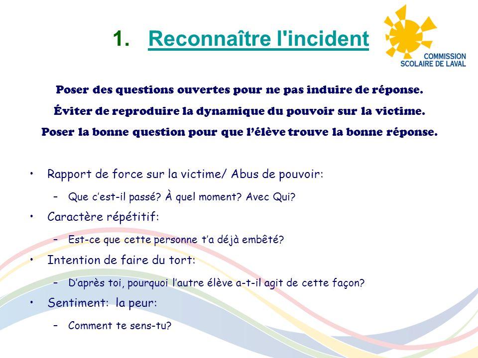 1.Reconnaître l'incidentReconnaître l'incident Poser des questions ouvertes pour ne pas induire de réponse. Éviter de reproduire la dynamique du pouvo