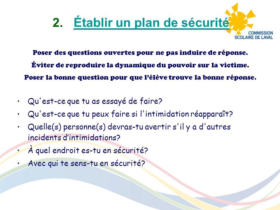 2.Établir un plan de sécuritéÉtablir un plan de sécurité Poser des questions ouvertes pour ne pas induire de réponse. Éviter de reproduire la dynamiqu