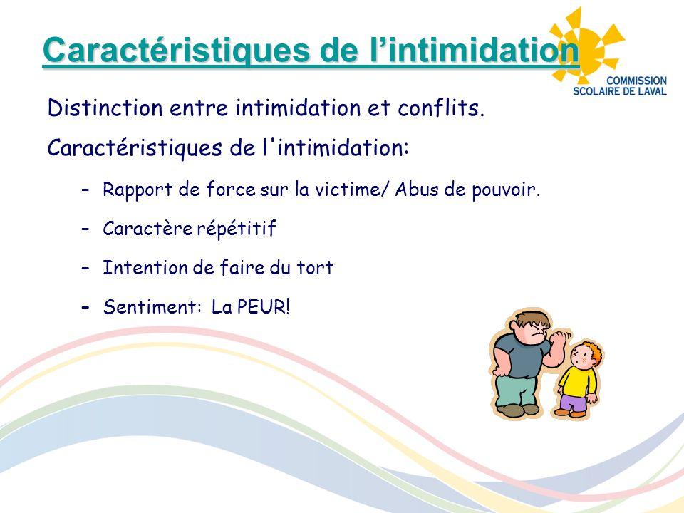 Caractéristiques de lintimidation Caractéristiques de lintimidation Distinction entre intimidation et conflits. Caractéristiques de l'intimidation: –R