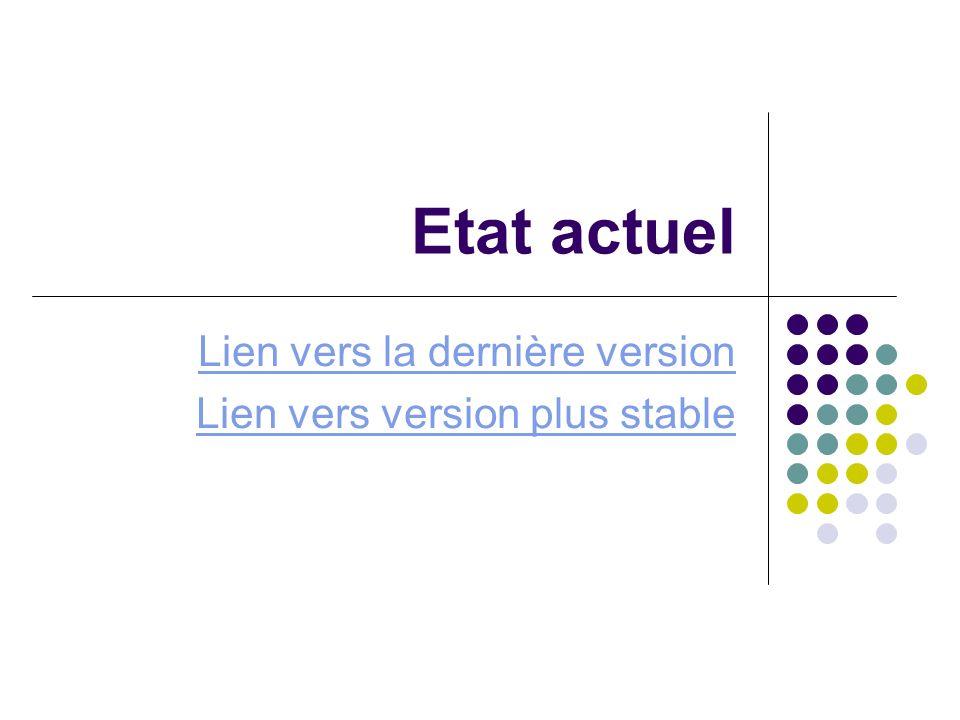 Etat actuel Lien vers la dernière version Lien vers version plus stable