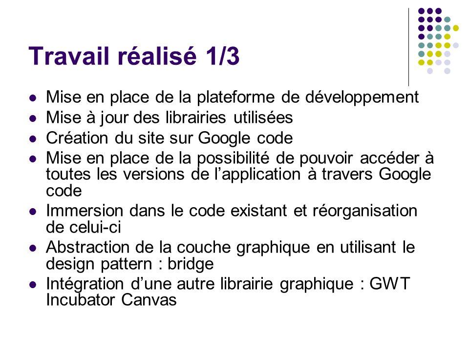 Travail réalisé 1/3 Mise en place de la plateforme de développement Mise à jour des librairies utilisées Création du site sur Google code Mise en plac