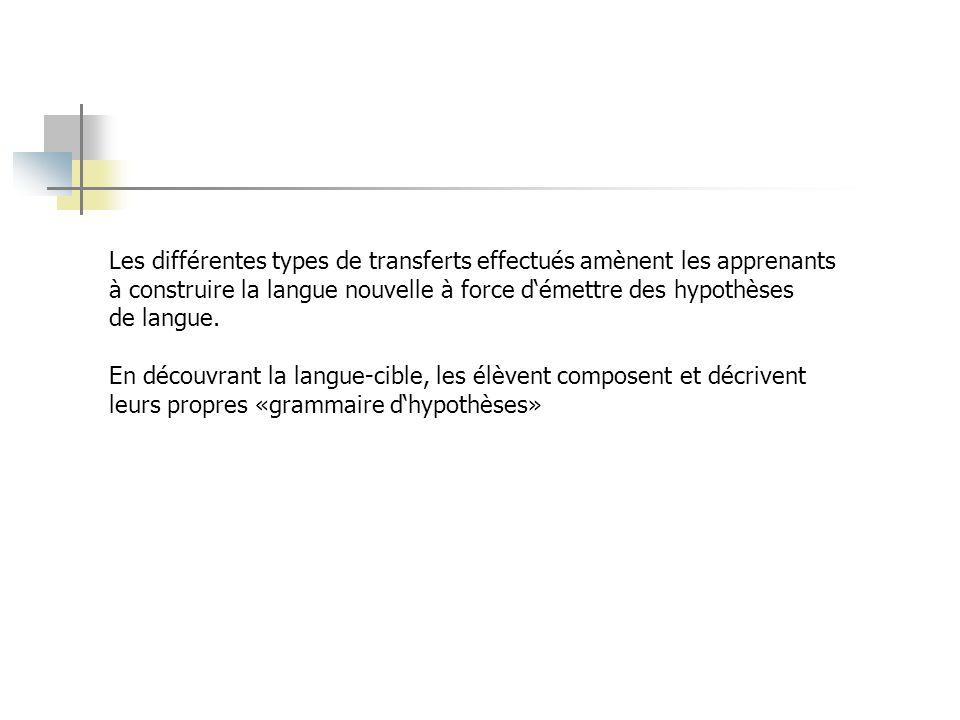 Les différentes types de transferts effectués amènent les apprenants à construire la langue nouvelle à force démettre des hypothèses de langue.