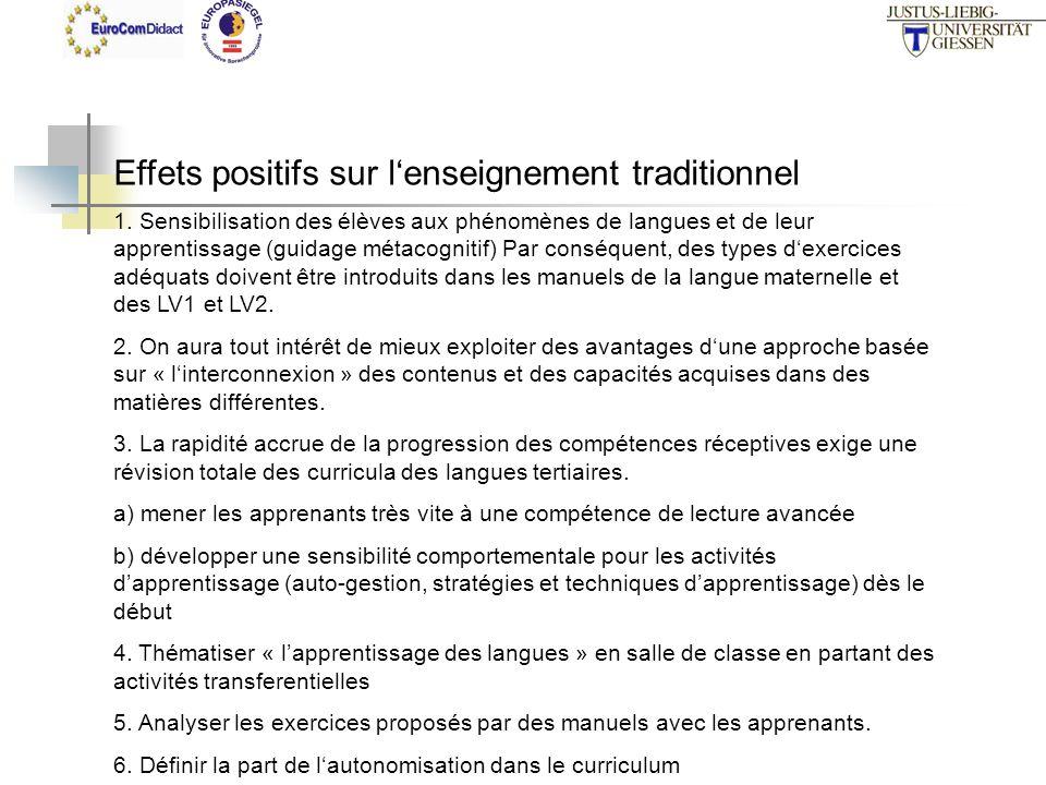 Effets positifs sur lenseignement traditionnel 1. Sensibilisation des élèves aux phénomènes de langues et de leur apprentissage (guidage métacognitif)
