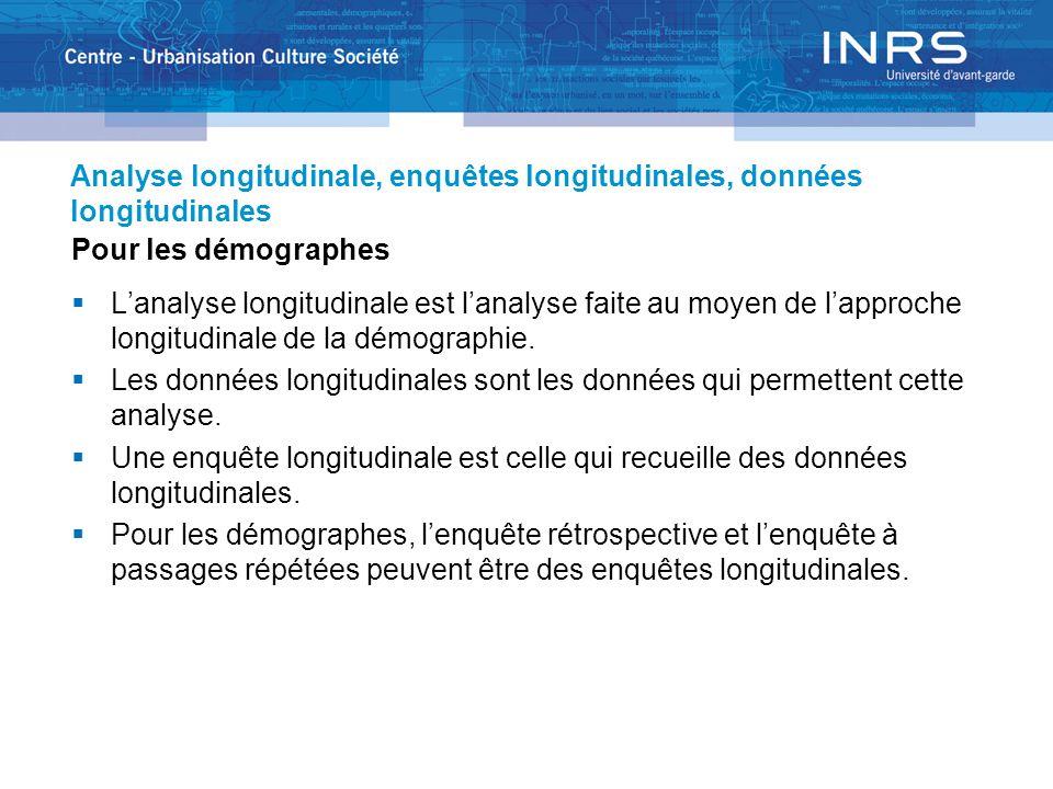 Analyse longitudinale, enquêtes longitudinales, données longitudinales Pour les démographes Lanalyse longitudinale est lanalyse faite au moyen de lapproche longitudinale de la démographie.