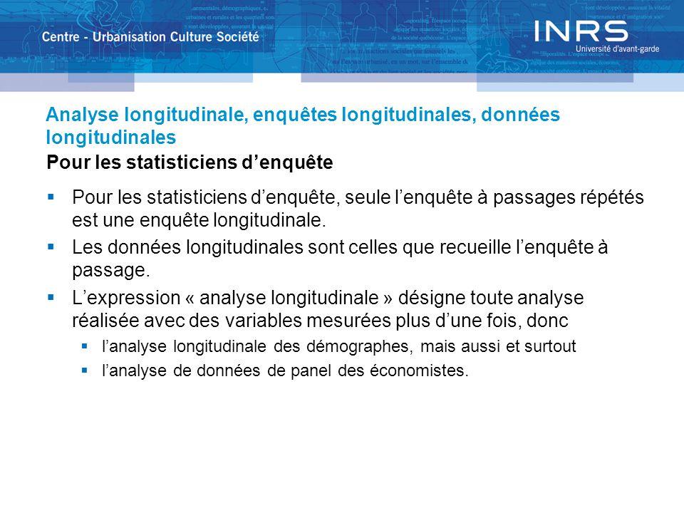 Analyse longitudinale, enquêtes longitudinales, données longitudinales Pour les statisticiens denquête Pour les statisticiens denquête, seule lenquête à passages répétés est une enquête longitudinale.